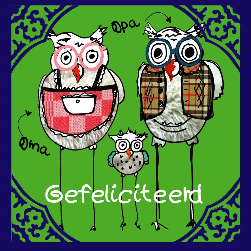 Felicitatiekaarten - Felicitatiekaart opa en oma uil