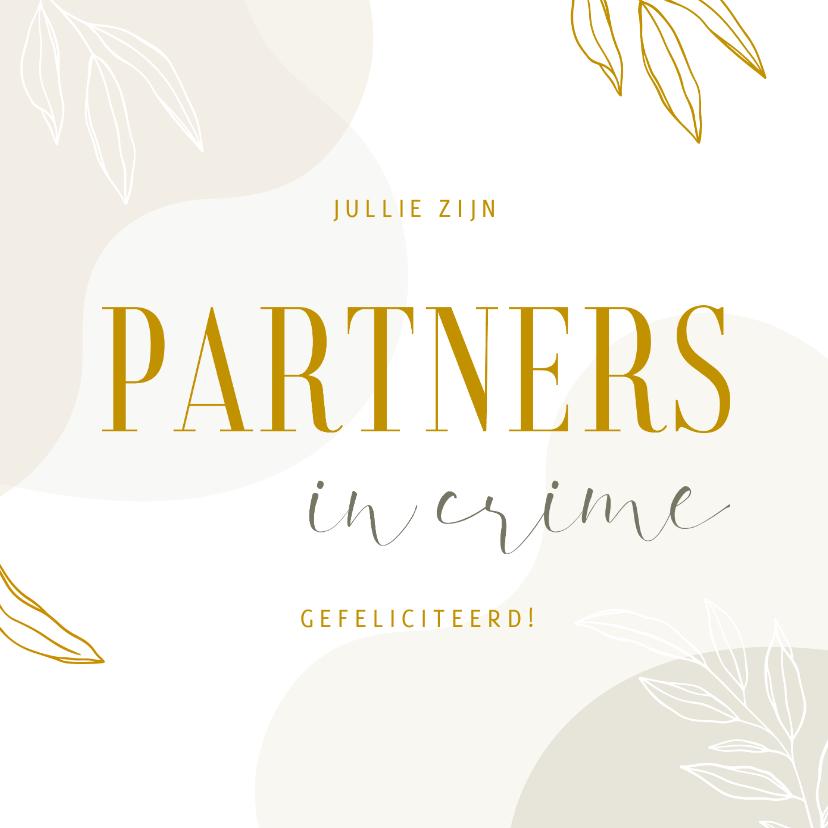 Felicitatiekaarten - Felicitatiekaart partners in crime abstract met lijntekening