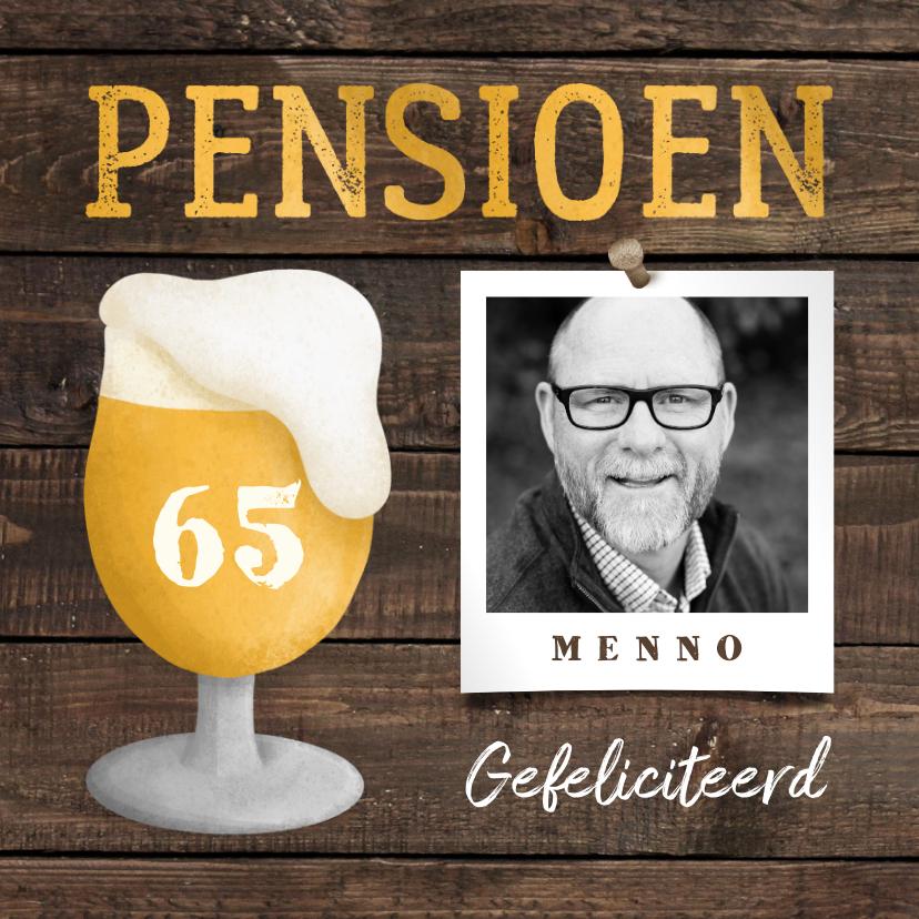 Felicitatiekaarten - Felicitatiekaart pensioen bierglas met foto en leeftijd
