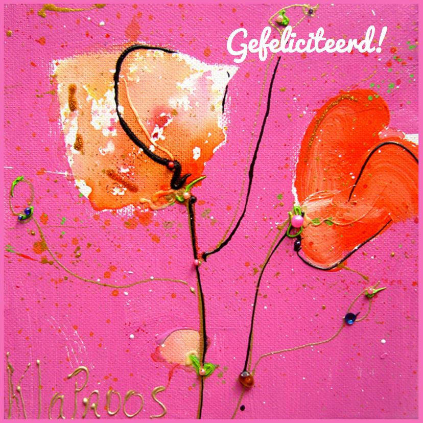 Felicitatiekaarten - Felicitatiekaart roze  klaprozen
