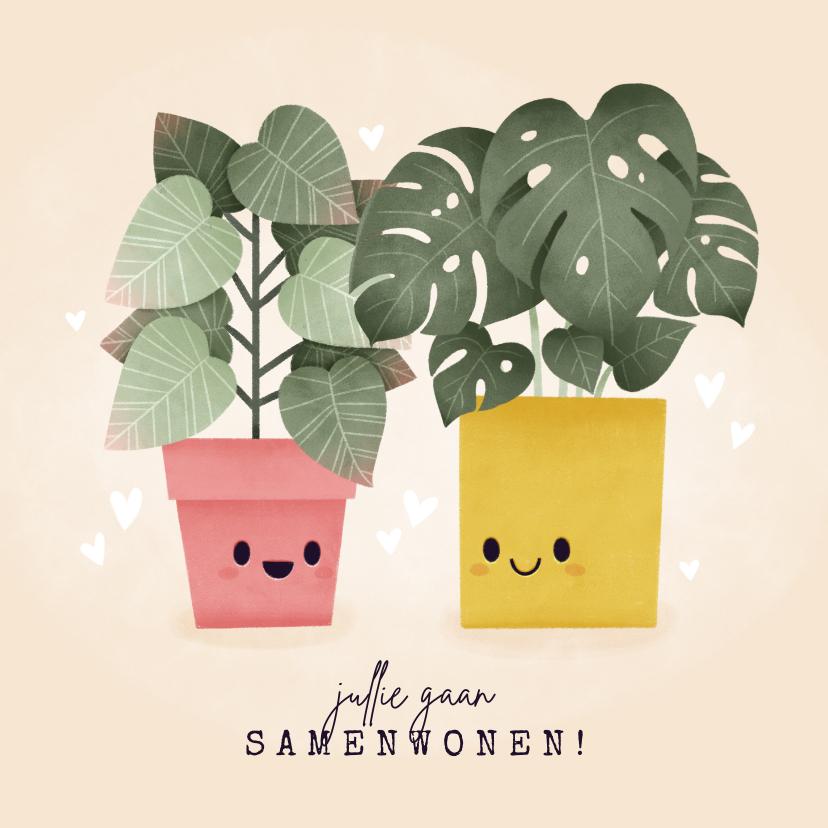 Felicitatiekaarten - Felicitatiekaart samenwonen met plantjes en hartjes