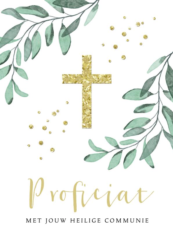 Felicitatiekaarten - Felicitatiekaart stijlvol heilige communie kruis goud takje