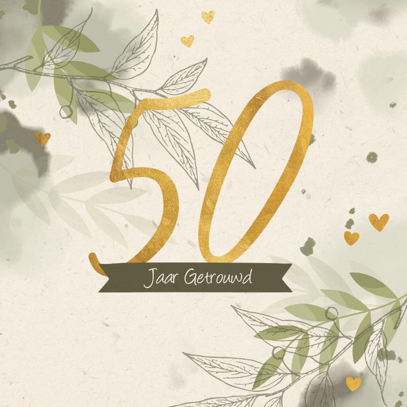 Felicitatiekaarten - Felicitatiekaart takjes gouden hartjes en waterverf groen