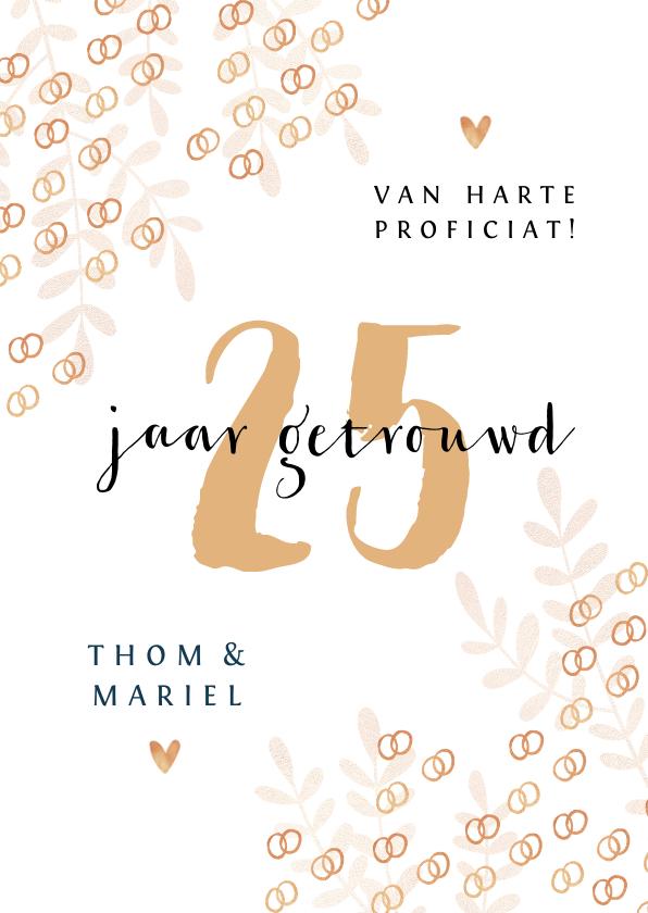 Felicitatiekaarten - Felicitatiekaart trouwdag 25 jaar getrouwd ringen goud