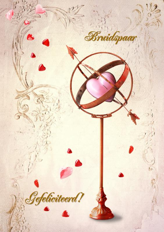 Felicitatiekaarten - Felicitatiekaart trouwen hartjes SG