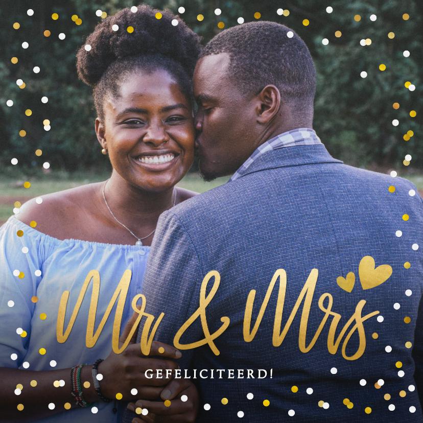 Felicitatiekaarten - Felicitatiekaart trouwen met eigen foto en confetti kader