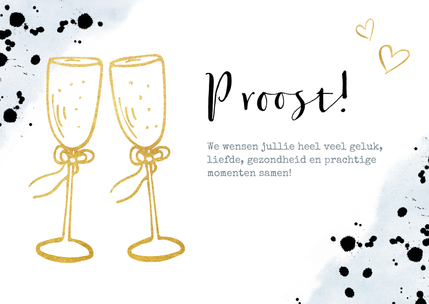 Felicitatiekaarten - Felicitatiekaart trouwen met gouden champagneglazen toast