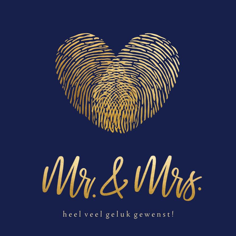 Felicitatiekaarten - Felicitatiekaart trouwen - vingerafdrukken die hart vormen