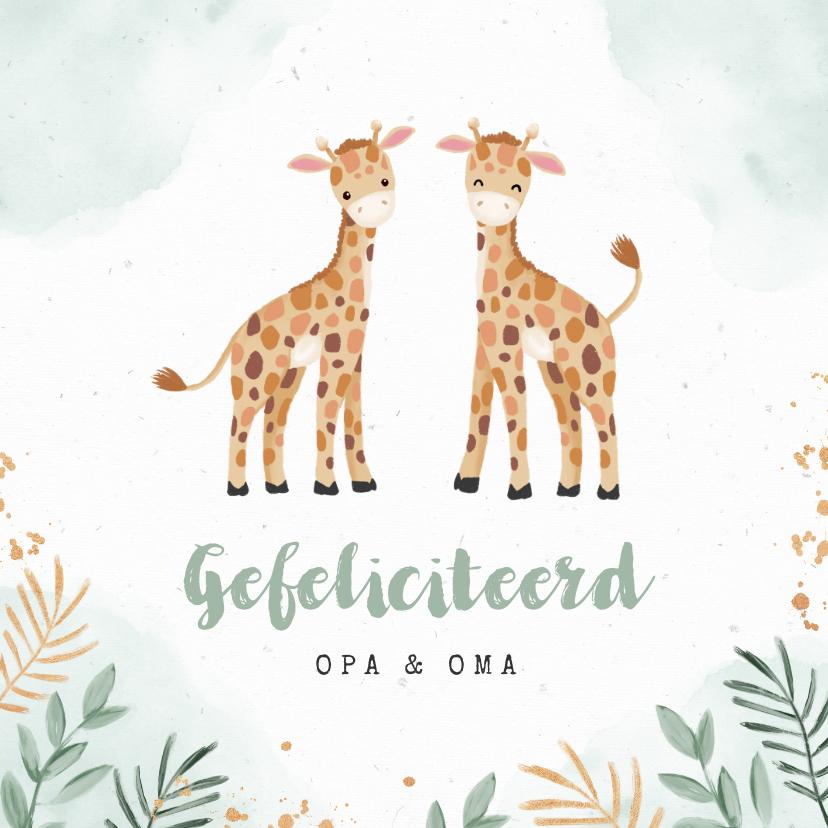 Felicitatiekaarten - Felicitatiekaart tweeling geboorte dieren giraf