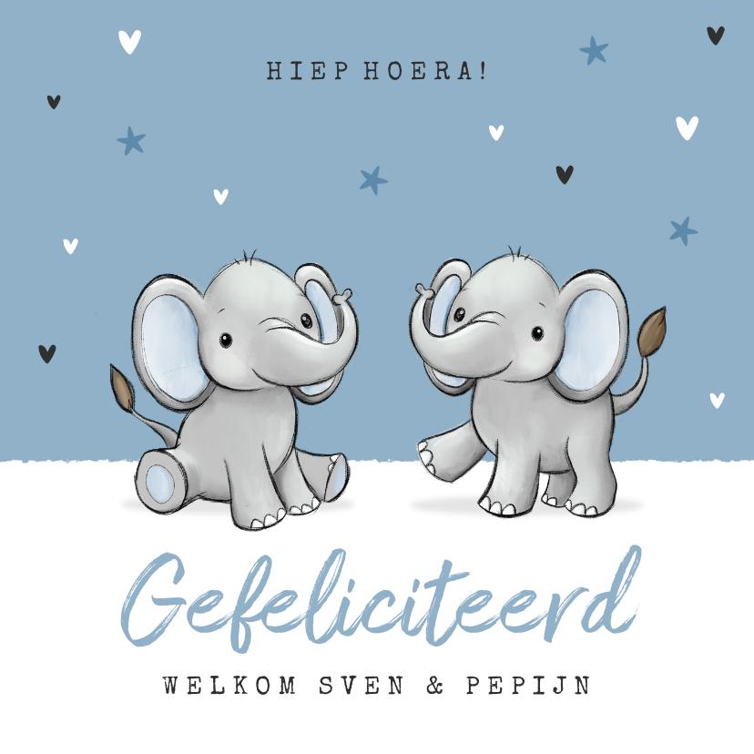 Felicitatiekaarten - Felicitatiekaart tweeling jongens geboorte baby olifantjes