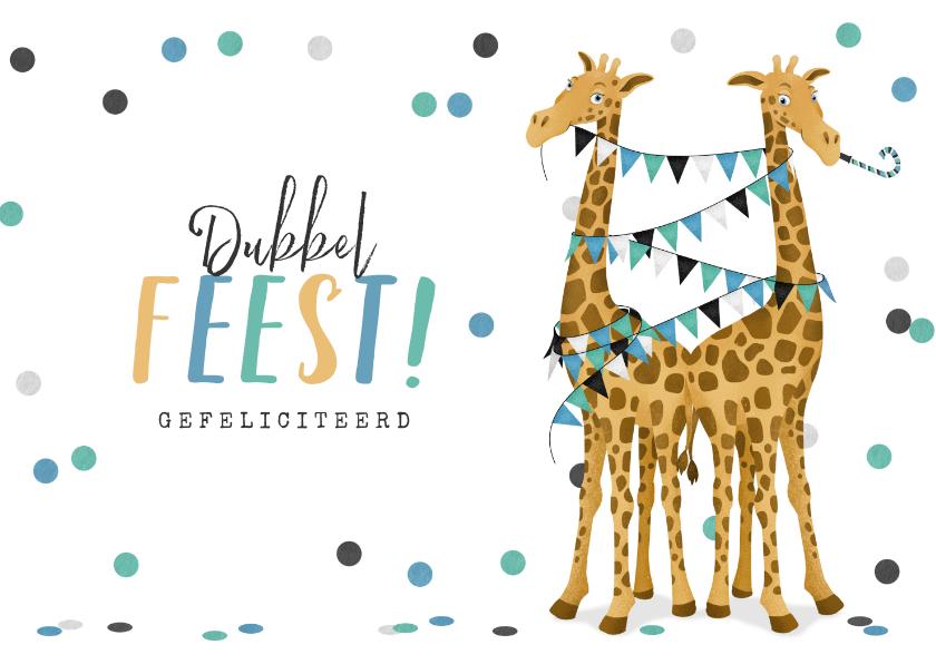 Felicitatiekaarten - Felicitatiekaart tweeling jongens giraf geboorte zwanger