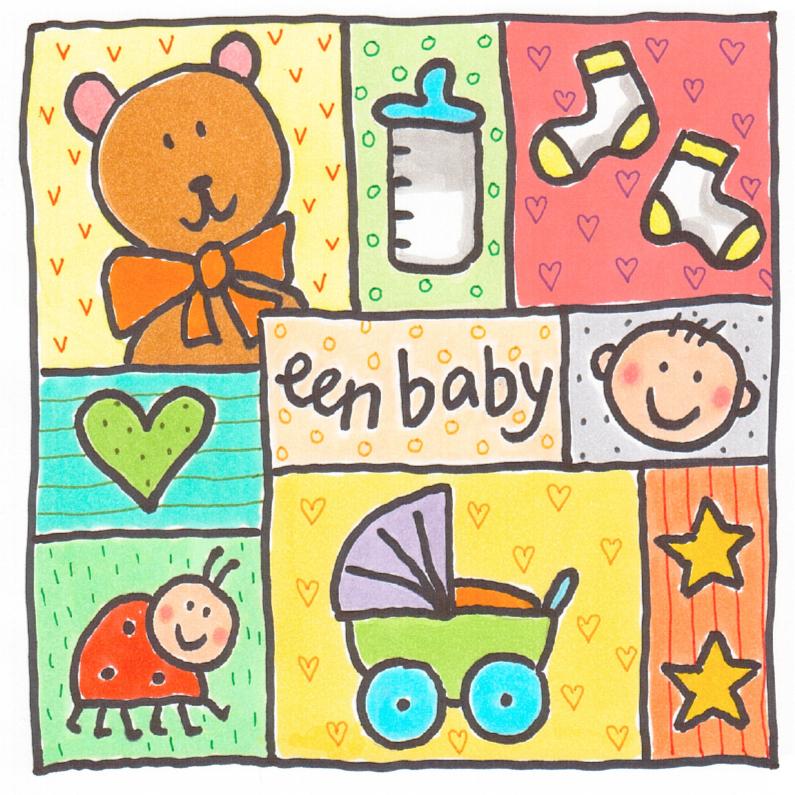 Felicitatiekaarten - Felicitatiekaart vakjes baby