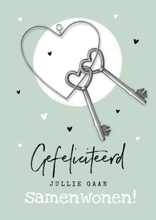 Felicitatiekaarten - Felicitatiekaart verhuisd samenwonen sleutels hartjes