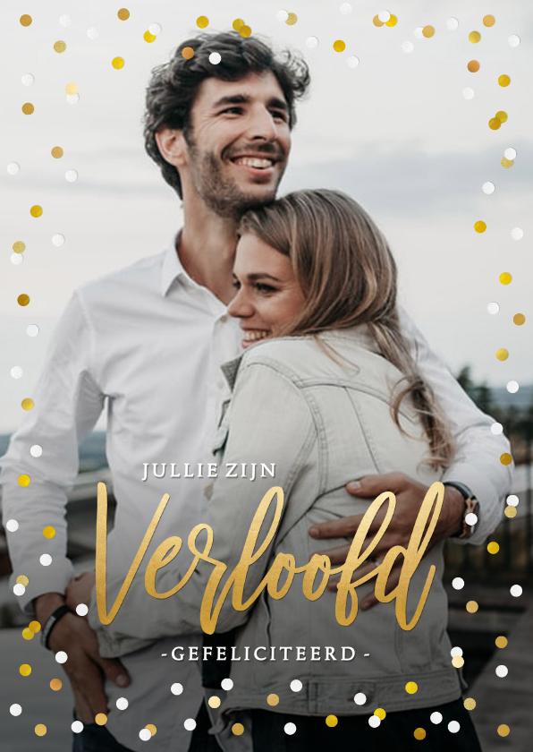 Felicitatiekaarten - Felicitatiekaart verloving met eigen foto en confetti