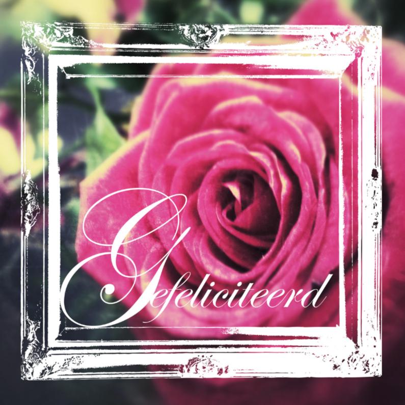 Felicitatiekaarten - Felicitatiekaart vintage roos