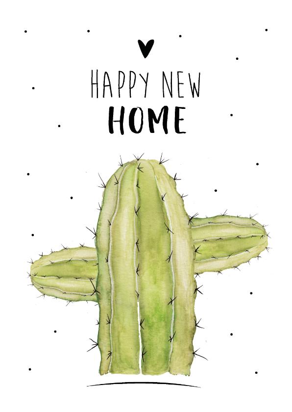 Felicitatiekaarten - Felicitatiekaart voor een nieuwe woning met mooi cactus