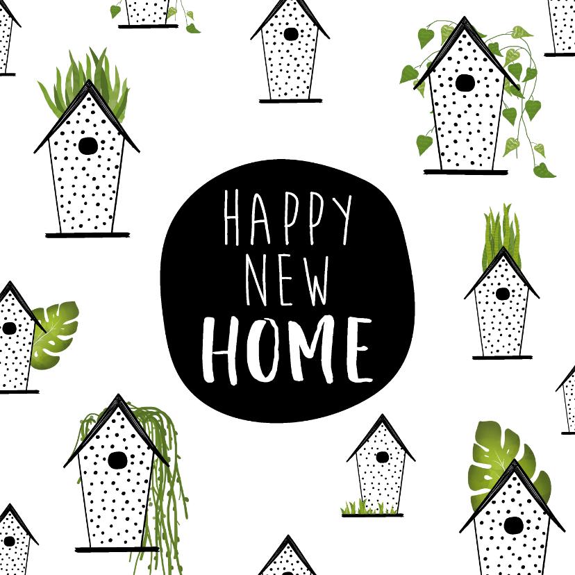 Felicitatiekaarten - Felicitatiekaart voor een nieuwe woning met vogelhuisjes