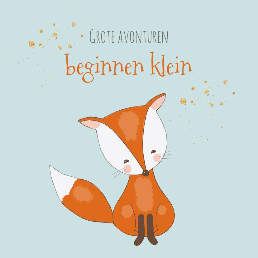 Felicitatiekaarten - Felicitatiekaart voor geboorte jongen met een lief vosje