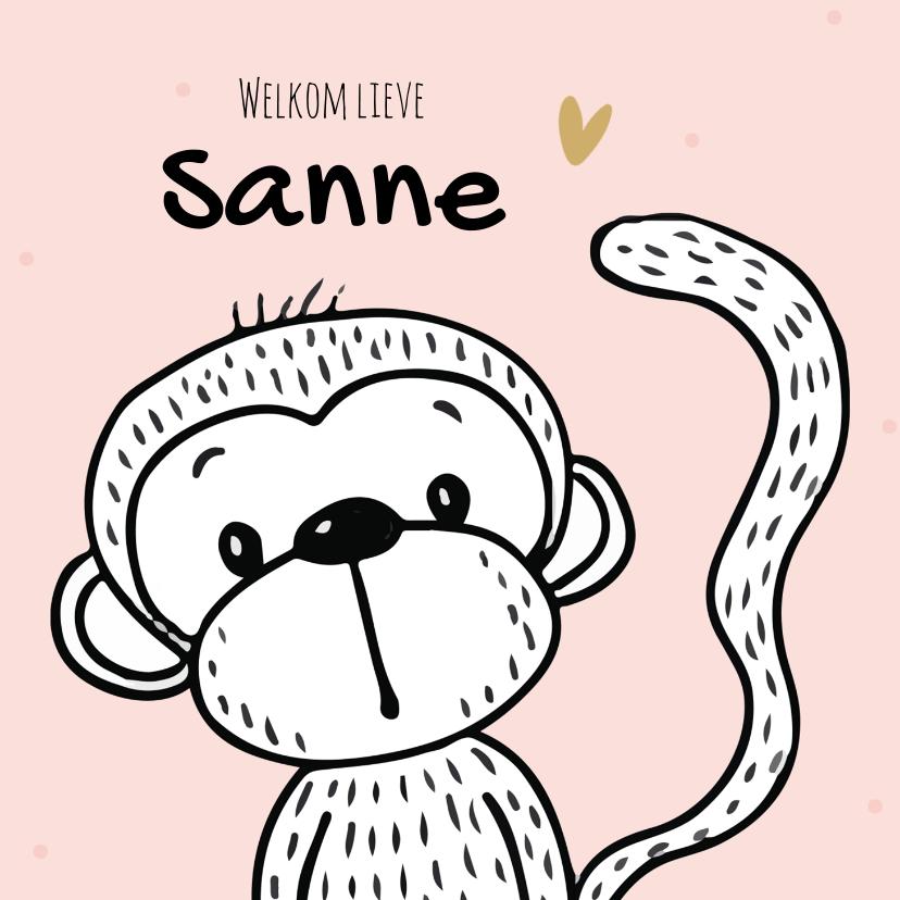 Felicitatiekaarten - Felicitatiekaart voor geboorte meisje met een vrolijke aap