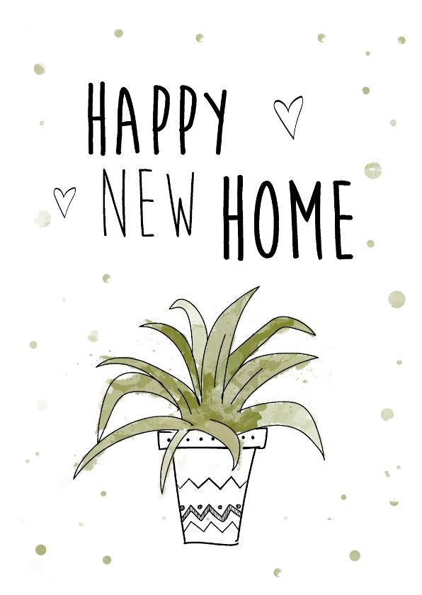 Felicitatiekaarten - Felicitatiekaart voor nieuwe woning met mooie plant