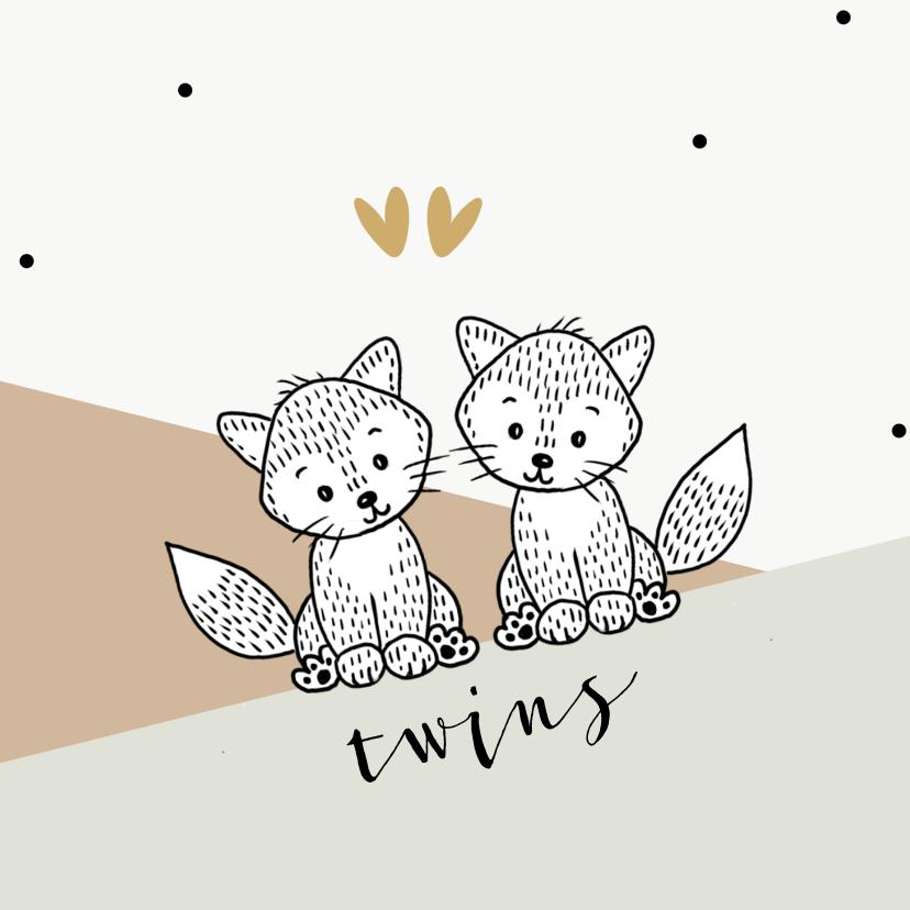 Felicitatiekaarten - Felicitatiekaart voor tweeling met vosjes in de bergen