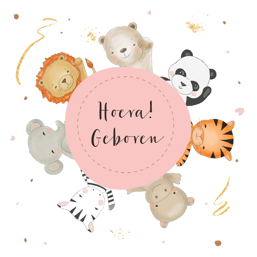 Felicitatiekaarten - Felicitatiekaart vrolijke diertjes om een roze ronding