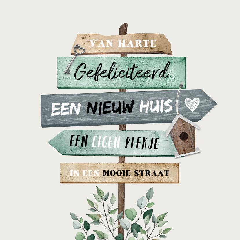 Felicitatiekaarten - felicitatiekaart wegwijzers nieuwe woning hout sleutel
