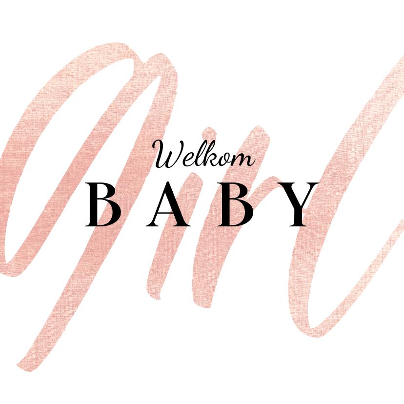 Felicitatiekaarten - Felicitatiekaart welkom baby girl stijlvol meisje
