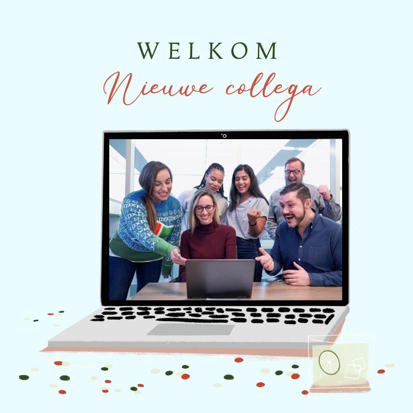 Felicitatiekaarten - Felicitatiekaart welkom op afstand met laptop