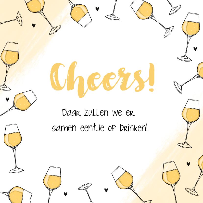Felicitatiekaarten - Felicitatiekaart witte wijn cheers algemeen