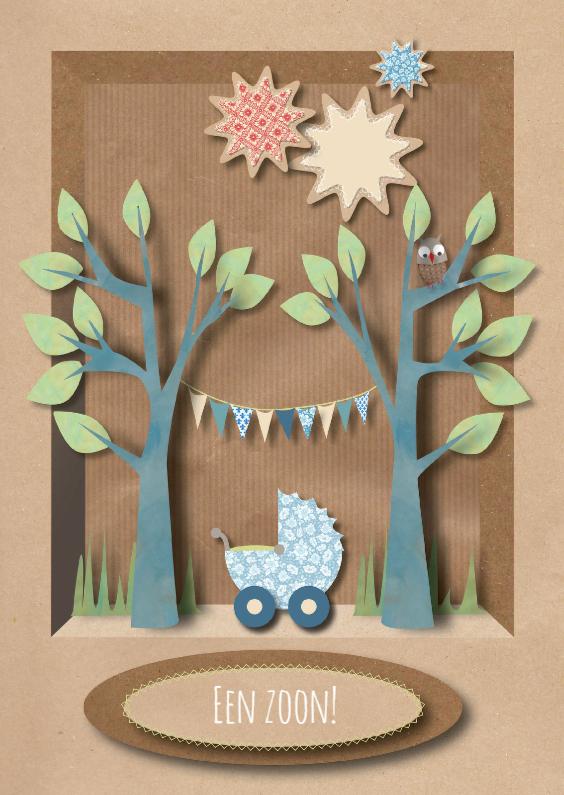 Felicitatiekaarten - Felicitatiekaart Woodland Geboorte Zoon