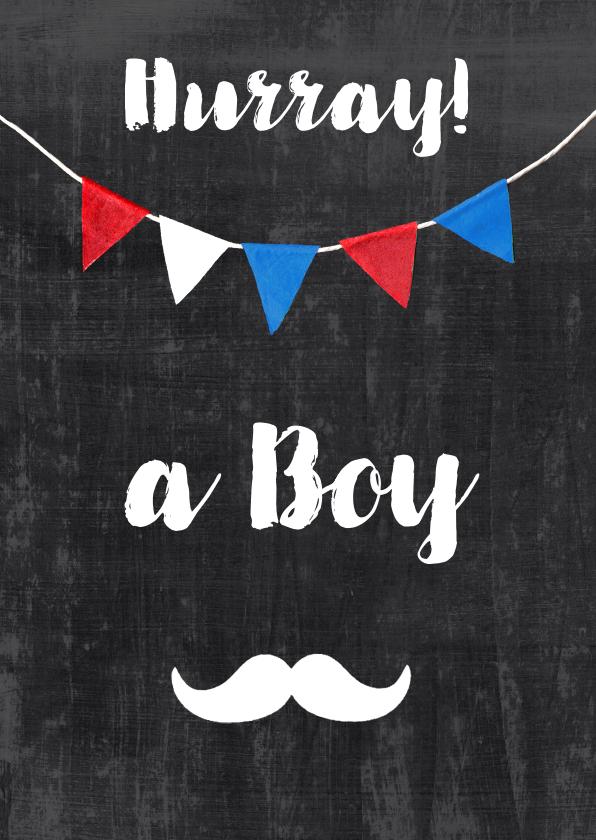 Felicitatiekaarten - Felicitatiekaart zoon krijt vlaggetjes