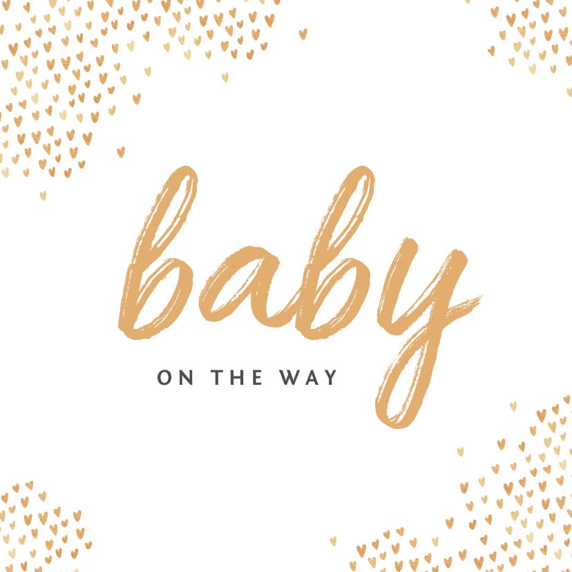 Felicitatiekaarten - Felicitatiekaart zwanger baby hartjes goud stijlvol