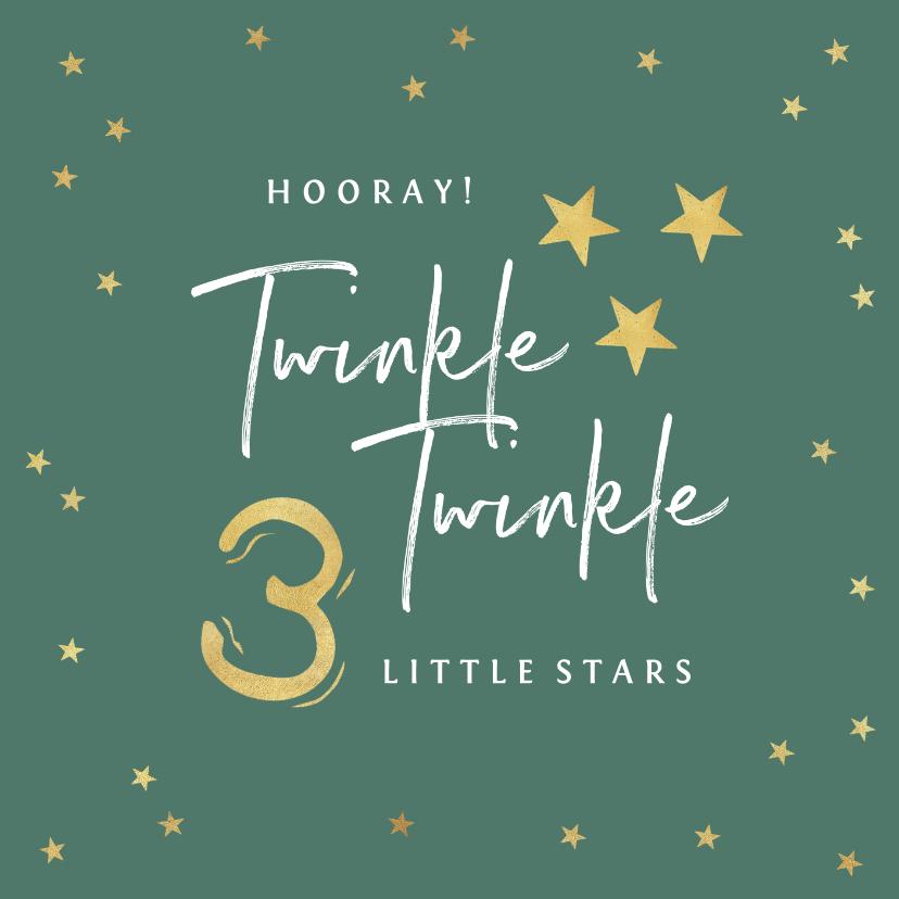 Felicitatiekaarten - Felicitatiekaart zwanger drieling twinkle little stars goud