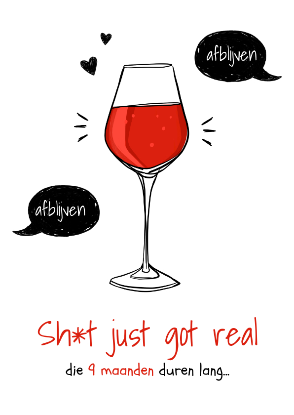 Felicitatiekaarten - Felicitatiekaart zwanger grappig wijn alcohol