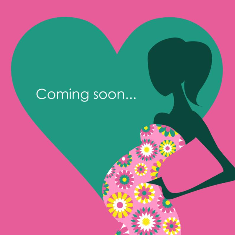 Felicitatiekaarten - Felicitatiekaart zwanger hart vrouw