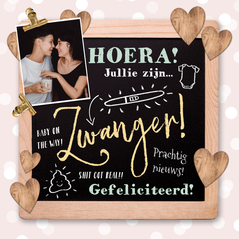 Felicitatiekaarten - Felicitatiekaart zwanger krijtbord, foto, illustraties, hart