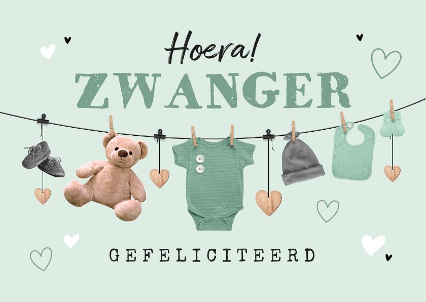 Felicitatiekaarten - Felicitatiekaart zwanger slinger waslijn babyspul unisex