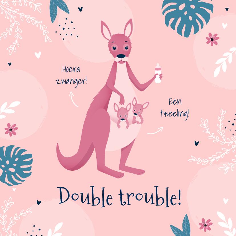 Felicitatiekaarten - Felicitatiekaart zwanger tweeling meisjes roze kangoeroe
