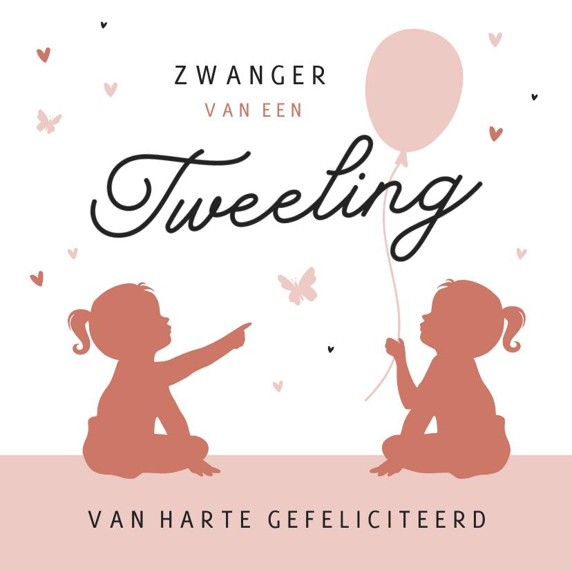 Felicitatiekaarten - Felicitatiekaart zwanger tweeling silhouet vlinders hartjes