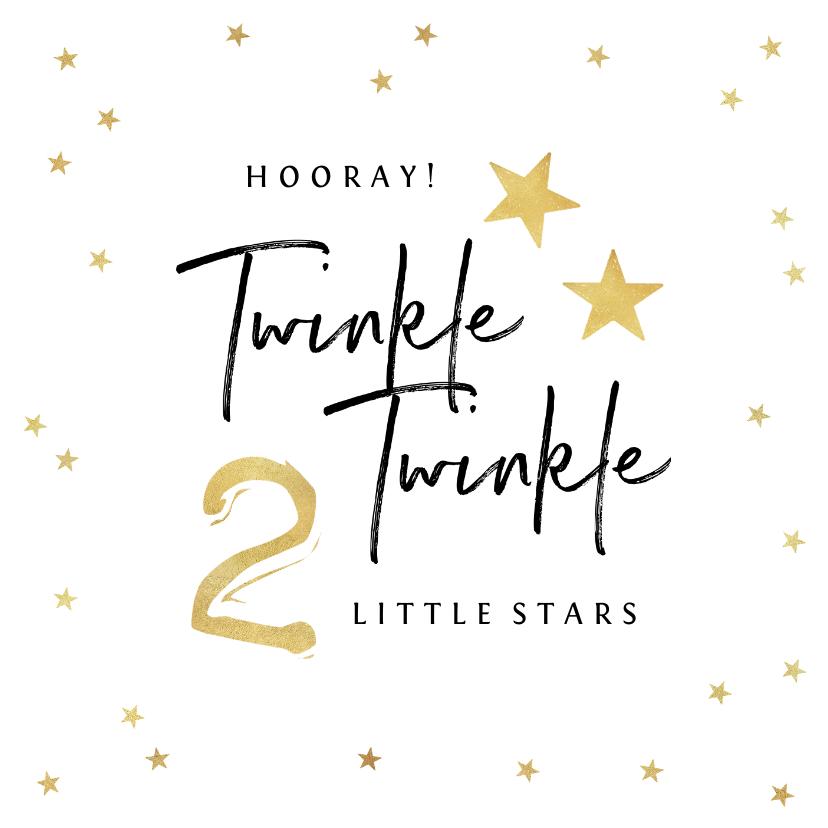 Felicitatiekaarten - Felicitatiekaart zwanger tweeling twinkle little stars goud
