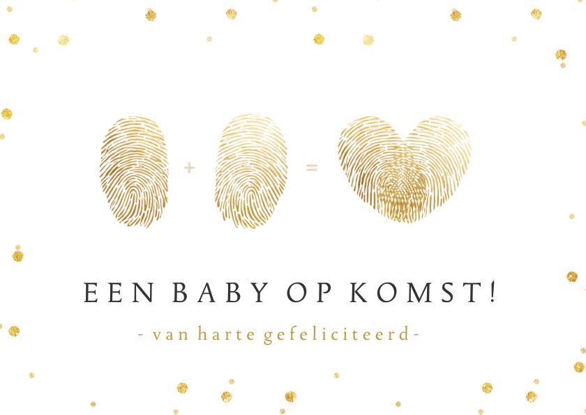 Felicitatiekaarten - Felicitatiekaart zwanger - vingerafdrukken hart - 1+1=♡