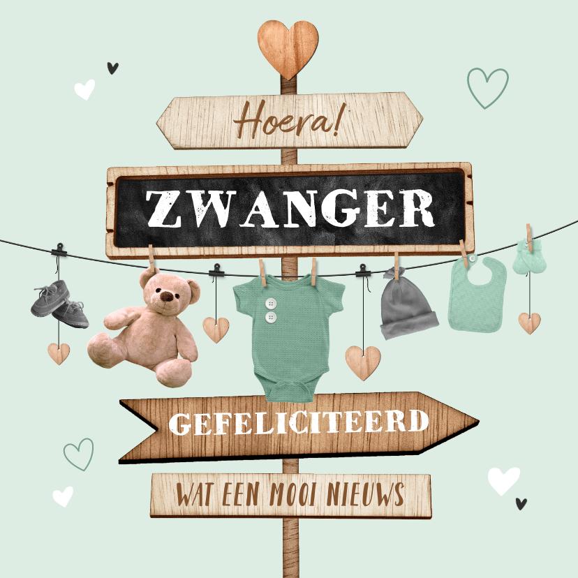 Felicitatiekaarten - Felicitatiekaart zwanger wegwijzers slinger hout babyspul