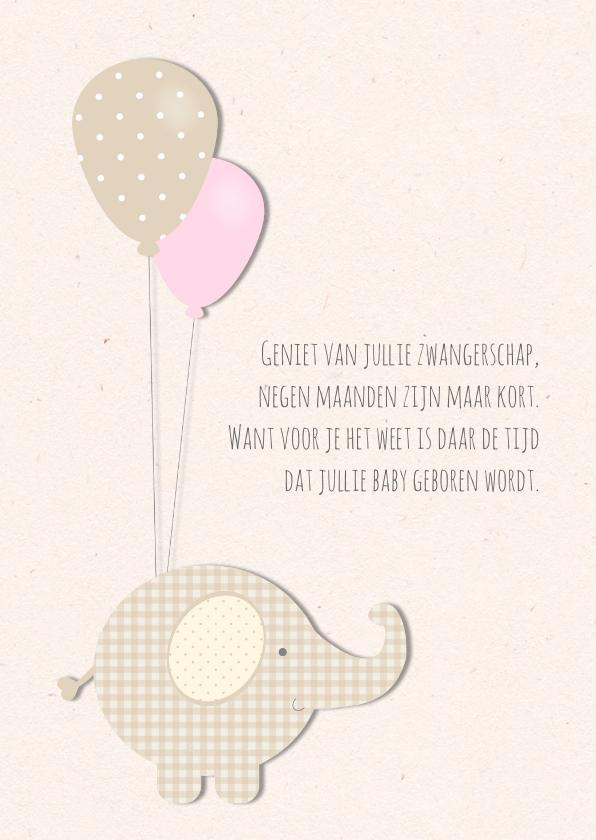 Felicitatiekaarten - Felicitatiekaart zwangerschap - olifantje met ballonnen