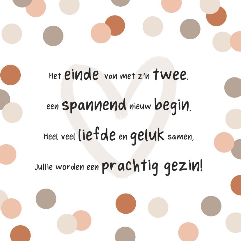 Felicitatiekaarten - Felicitatiekaart zwangerschap zwanger confetti hart gedicht