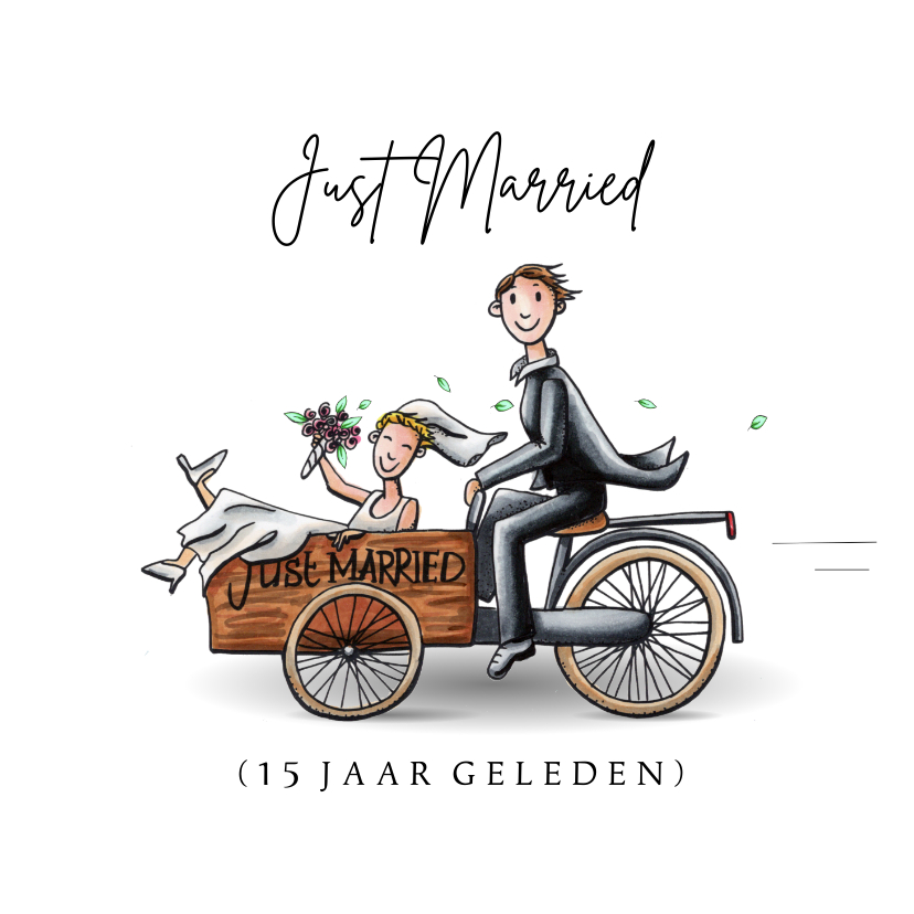 Felicitatiekaarten - Felicitatiekaarten Just Married in een bakfiets