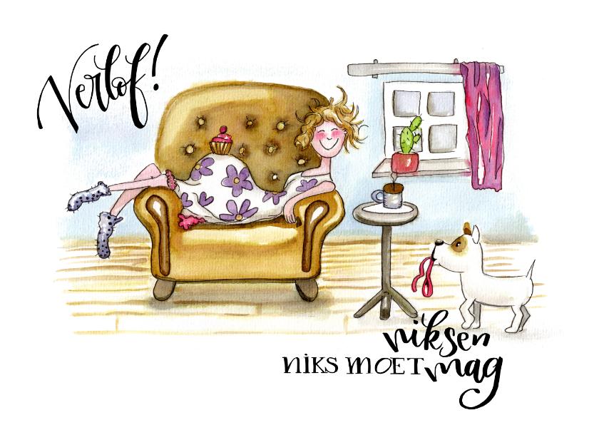 Felicitatiekaarten - Felicitatiekaarten Zwangerschapsverlof illustratie op stoel