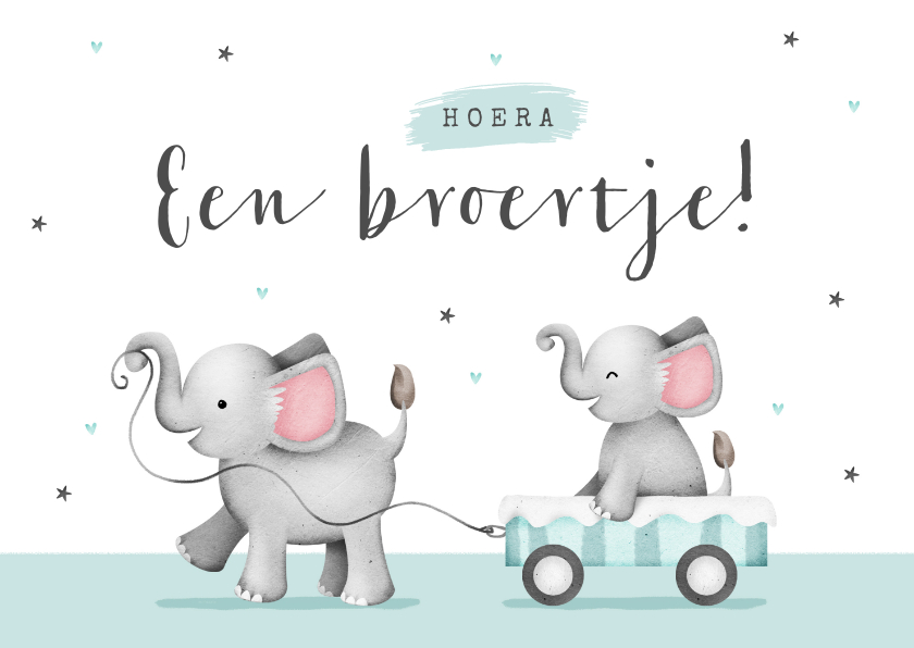 Felicitatiekaarten - Felicitatiekaartje baby broertje olifantjes hartjes