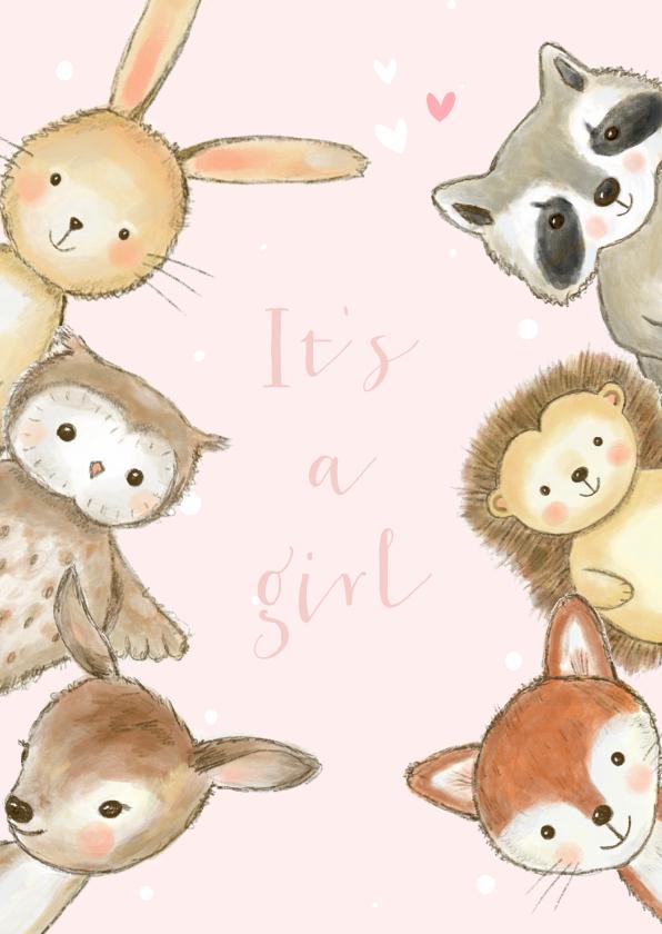 Felicitatiekaarten - Felicitatiekaartje bosdieren met confetti geboorte meisje