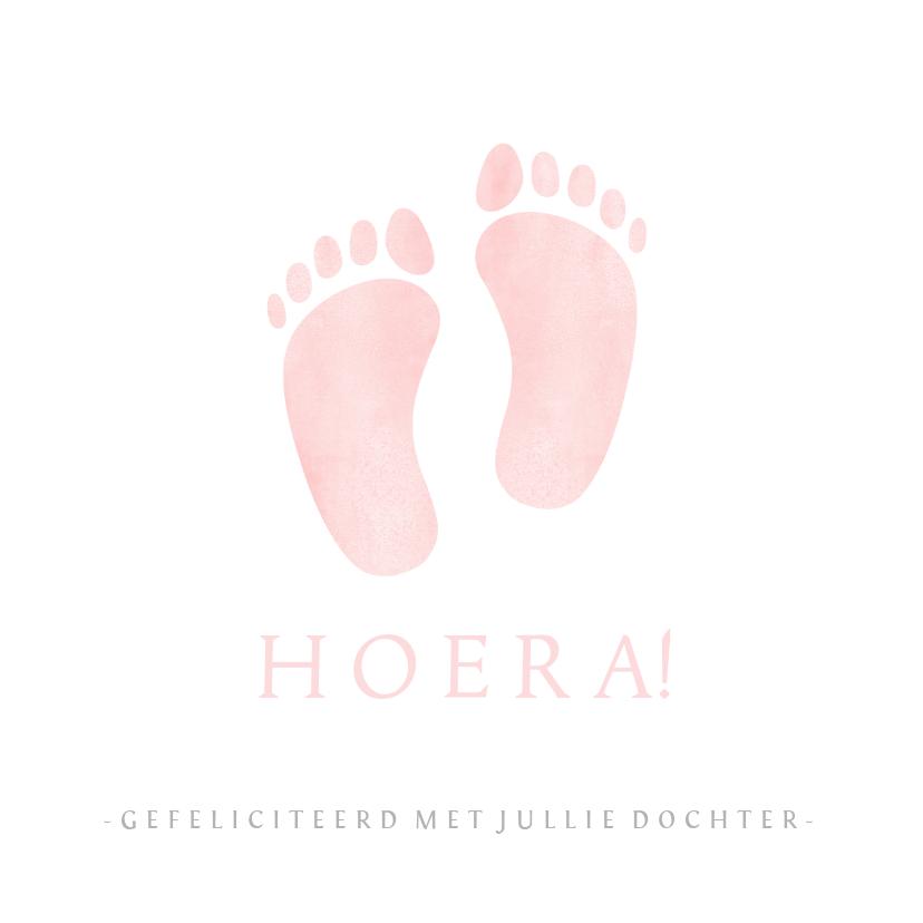 Felicitatiekaarten - Felicitatiekaartje geboorte meisje met roze babyvoetjes
